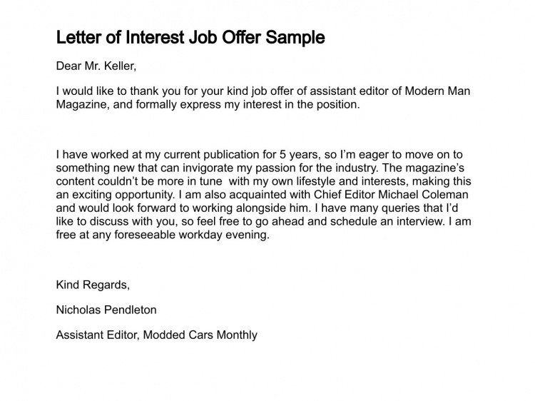 Letter Of Job Interest Sample Job Letter Of Interest Sample Job - letter of interest sample