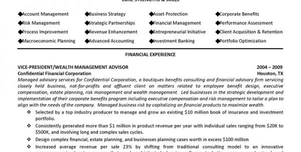 financial advisor resume objective sample - SampleBusinessResume