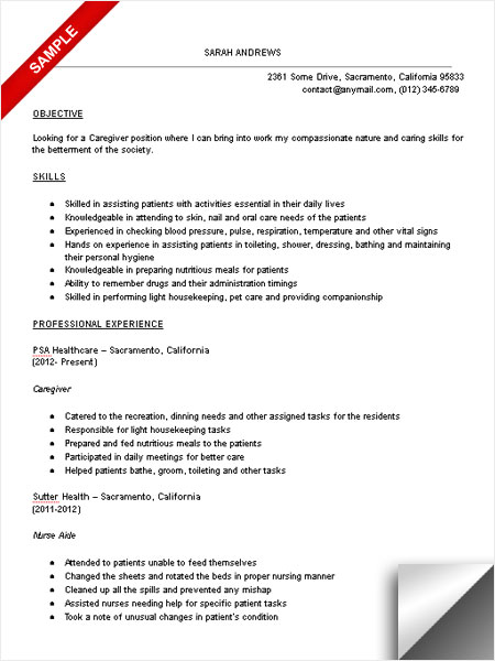 professional caregiver resume sample - SampleBusinessResume - resume samples for caregiver