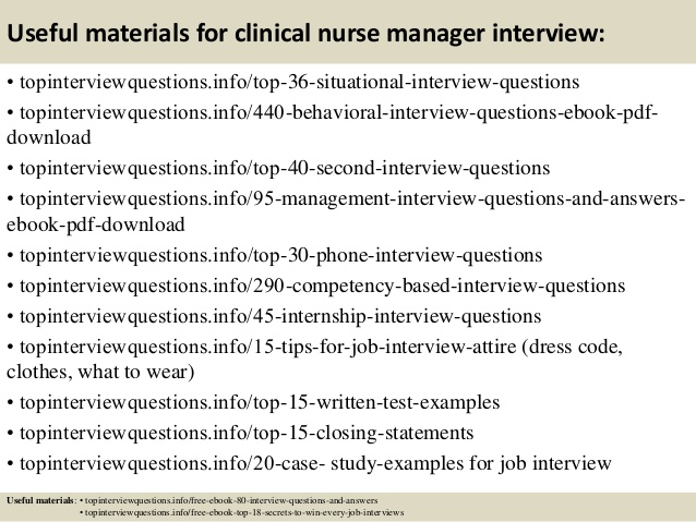interview questions for clinical nurse manager - Kordurmoorddiner