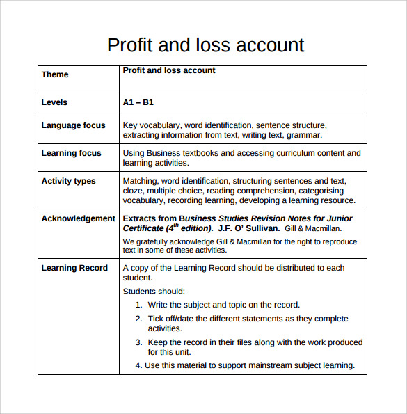 Business profit and loss statement template - SampleBusinessResume - Profit And Loss Template Word