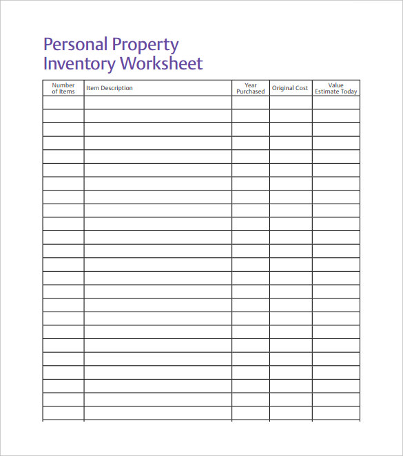 Personal property excel inventory template with formulas Spreadsheet