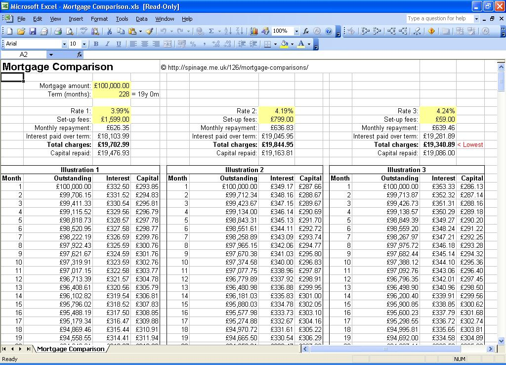compare mortgage loans side by side spreadsheet - mortgage loan comparison spreadsheet