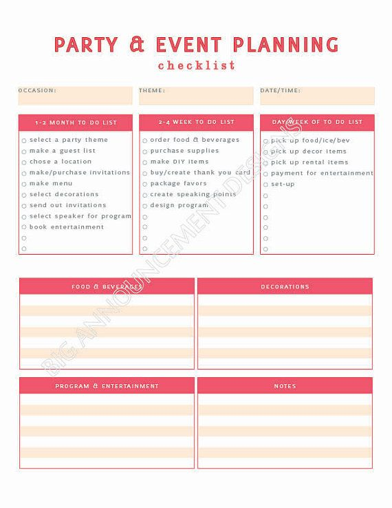 free party and event planning worksheet template