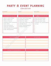 Party Planning Worksheet