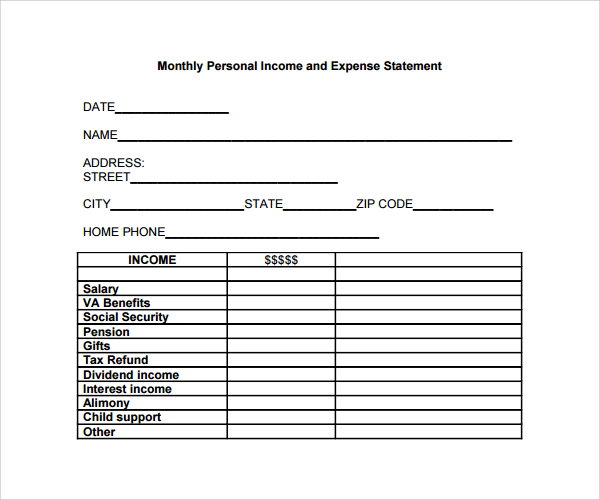personal income and expenses template statement
