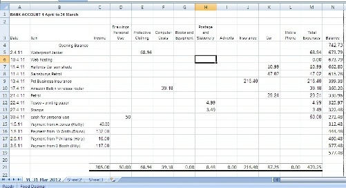 small accounting business spreadsheet for income and expenses free
