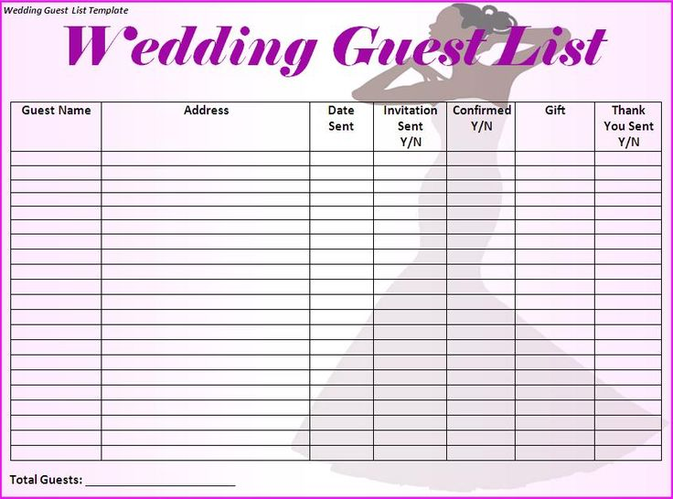 wedding guest list printable template - Maggilocustdesign