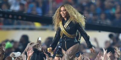 Feb 7, 2016; Santa Clara, CA, USA; Beyonce performs at halftime in Super Bowl 50 between the Carolina Panthers and the Denver Broncos at Levi's Stadium. Mandatory Credit: Robert Hanashiro-USA TODAY Sports