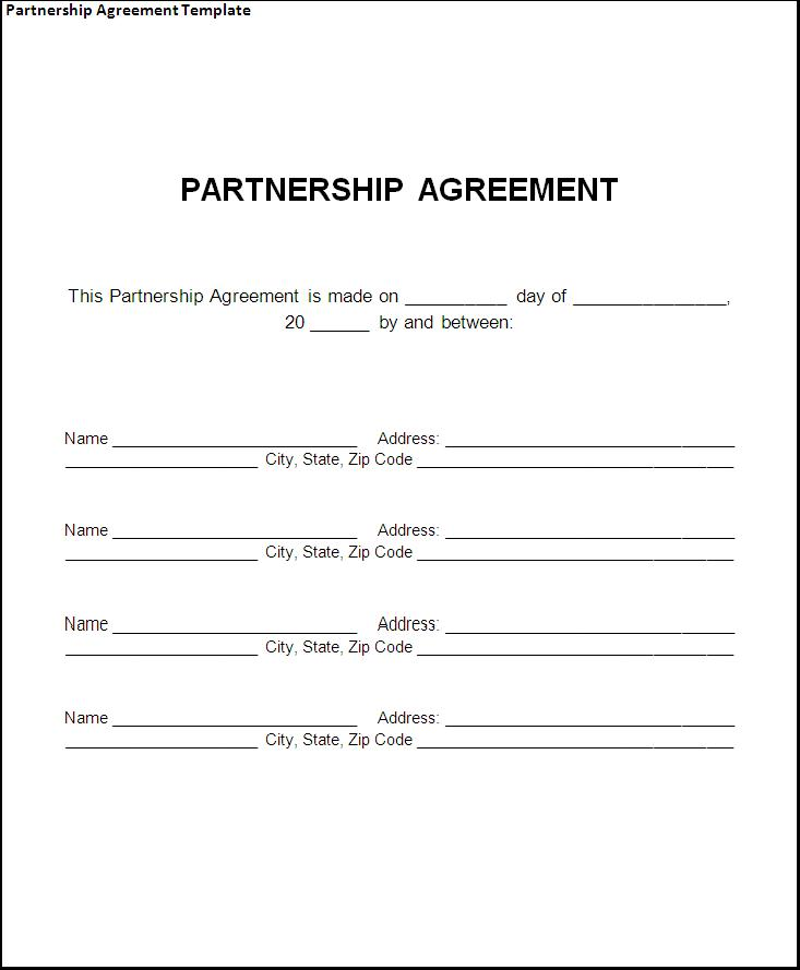 New Formatted Agreement Templates Samples and Templates - joint partnership agreement template