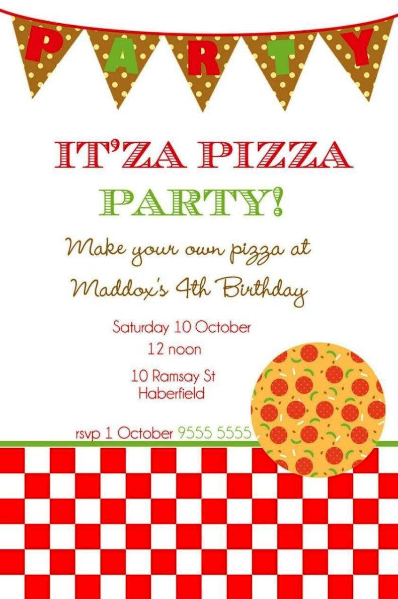 Invitation Letter Wedding Card Free Pizza Party Invitation Template - Sampletemplatess