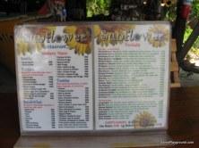 Sunflower Beach Bar Menu