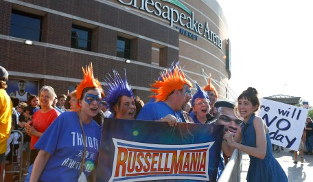Fans gather outside Chesapeake Arena before Game 6 of the NBA basketball Western Conference Finals in Oklahoma City, Saturday, May 28, 2016. (AP Photo/Alonzo Adams)