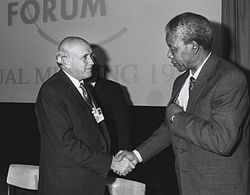 F.W. de Klerk och Nelson Mandela vid World Economic Forum 1992.