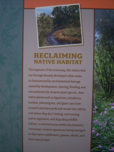 Photo of sign with Salado Creek Greenway Native Habitat information.