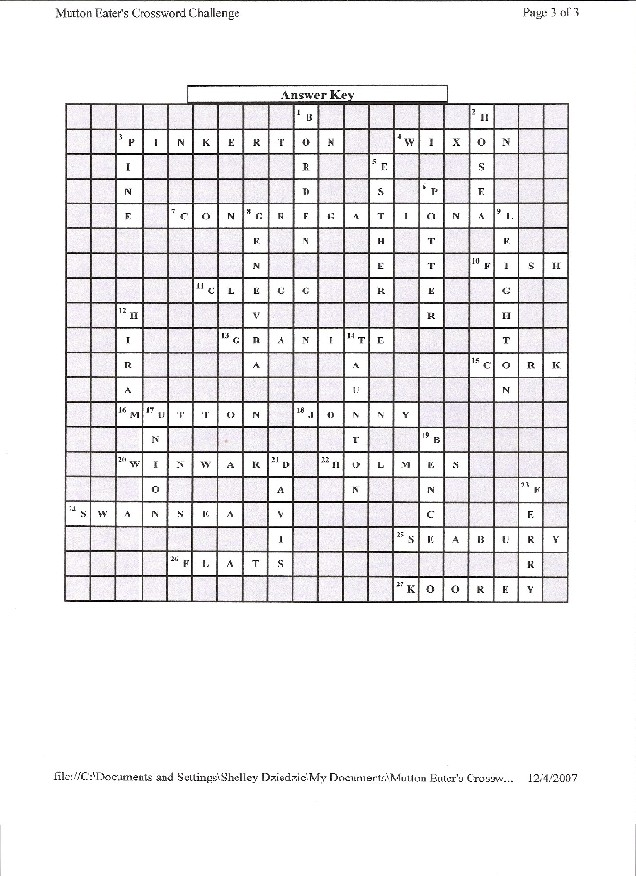 December 2007 Lizzie Borden  Warps  Wefts - best of blueprint with four bases crossword clue