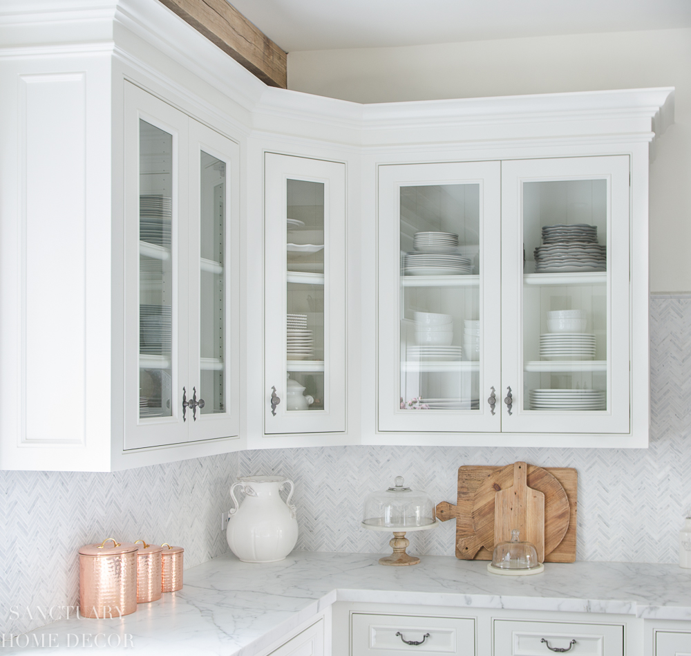 Photos Of White Kitchen Cabinets How To Style Glass Kitchen Cabinets Sanctuary Home Decor