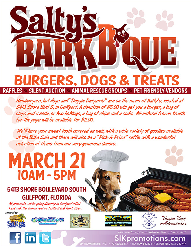 Gulfport Hosts Another \u201cGet Rescued\u201d Animal Fundraiser - bbq benefit flyers