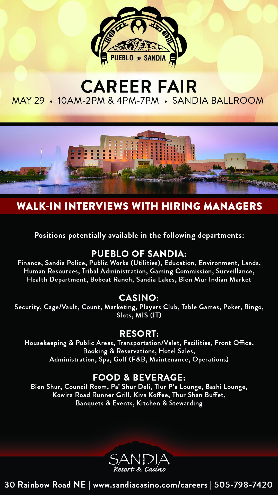 Housekeeping Openings Careers Sandia Resort Casino Albuquerque Dining Lounges