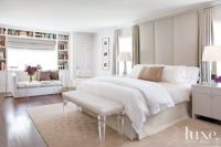 Contemporary White Bedroom with Floor-to-Ceiling Headboard ...