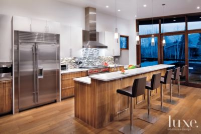 Contemporary Lighting Modern Kitchen With Zebrawood Cabinetry - Luxe Interiors