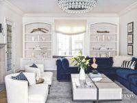 Color Pop Blue Velvet Sofa in White Living Room
