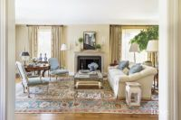 Traditional Neutral Living Room with Antique Rug