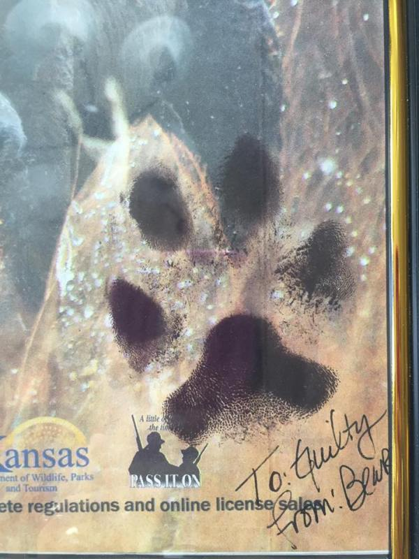 Dad's very own paw print.