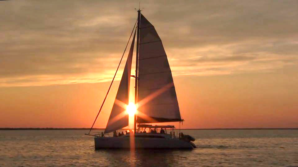 Sunset sail on the Kathleen D Sailing Catamaran