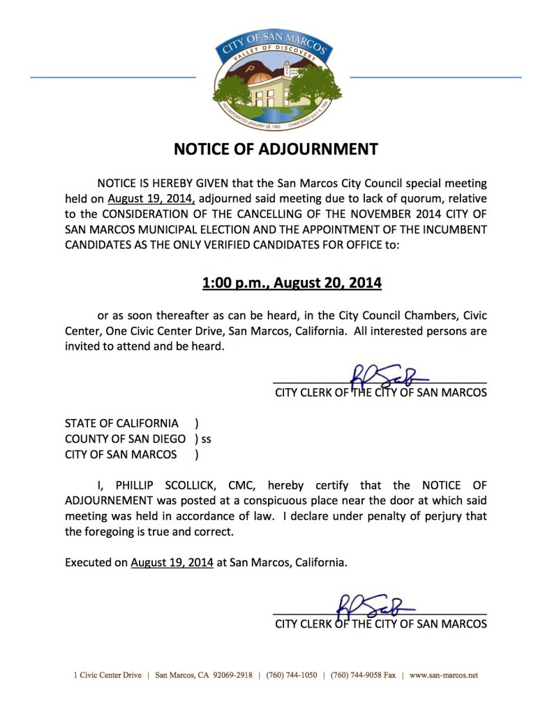 8-19-14 Agenda & Adjournment Notice