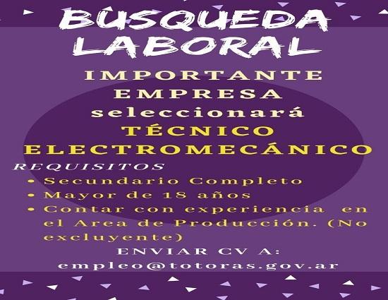 Oportunidad Laboral: Empresa totorense busca incorporar a un técnico electromecánico