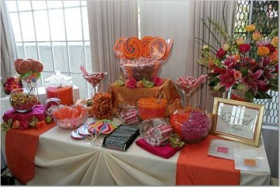 red wedding candy buffet
