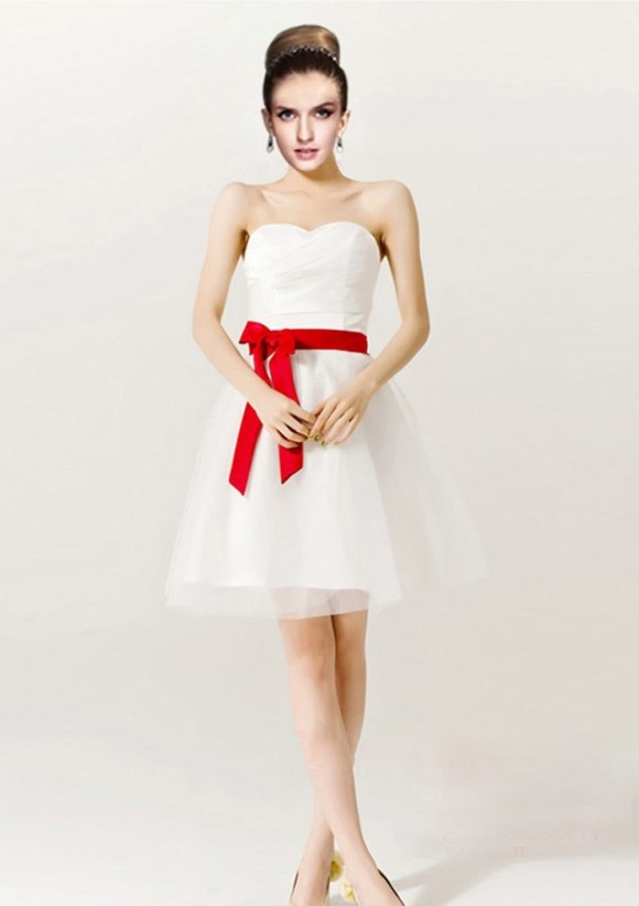 Gorgeous Short Red And White Wedding Dresses Sangmaestro