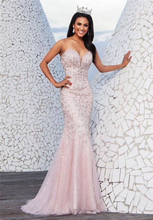 Elegant Light Pink Mermaid Prom Dresses Sang Maestro