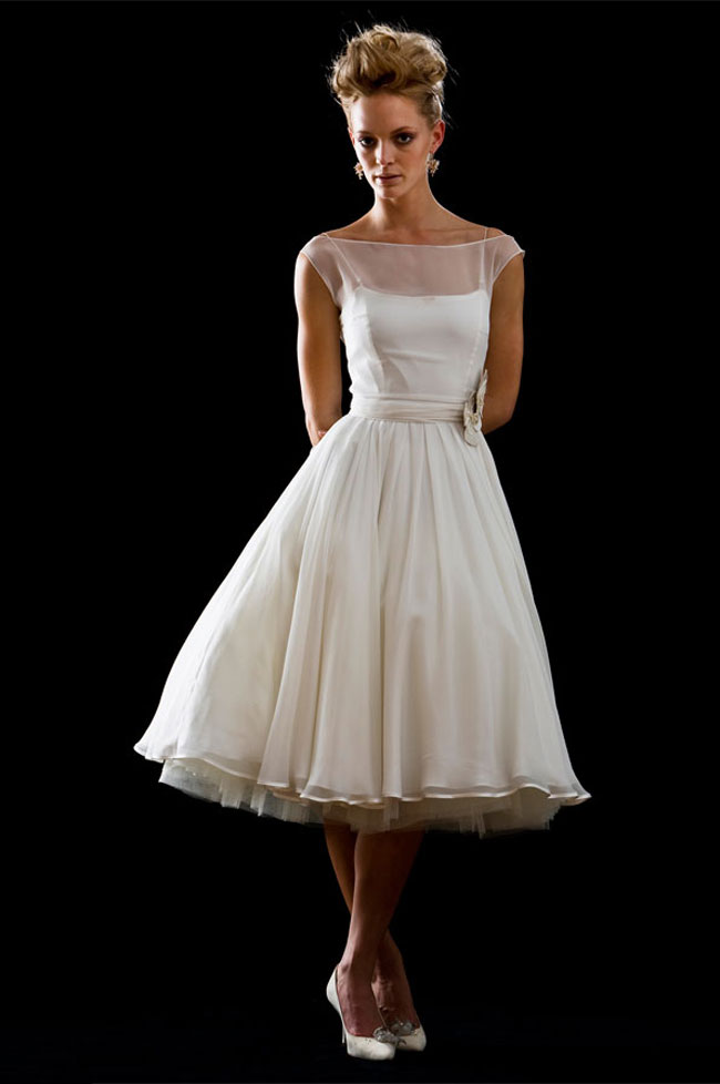 retro tea length wedding dress