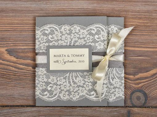 lace wedding invitations with pocket