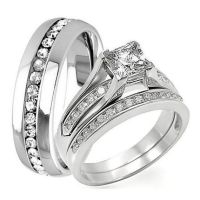 men and women wedding band set