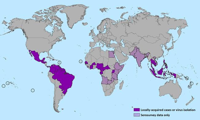 Distribución de virus Zika en enereo de 2016.