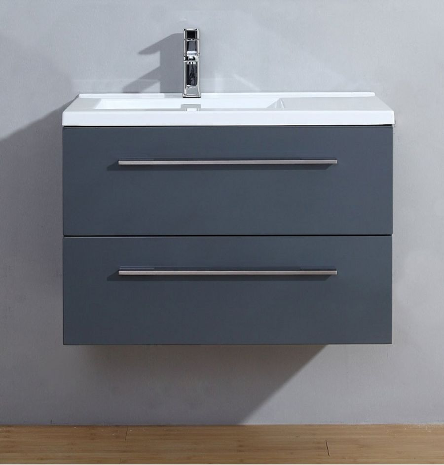 Meubles Vasque Meuble Simple Vasque 80cm Saturn 2 Gris Brillant Sans Miroir