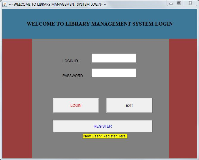 Library Management System using awt swings and mySQL Login page
