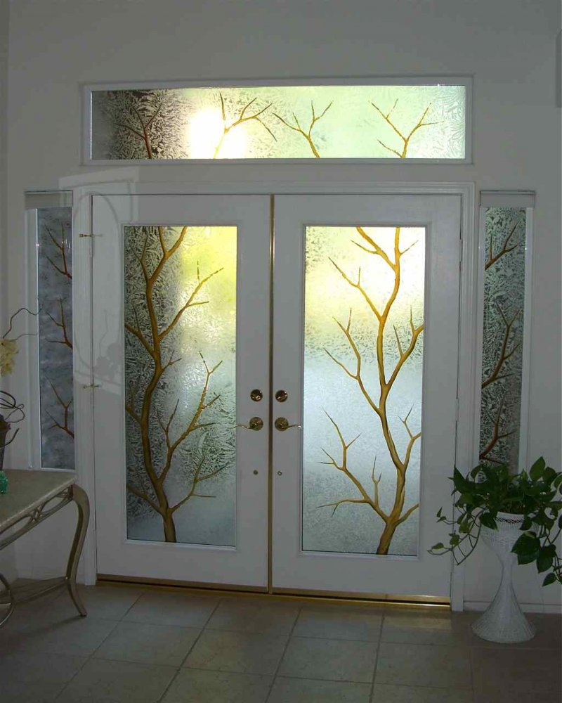 Glass Entry Doors Branch Out Ii Color Glass Entry Doors Etched L Sans Soucie