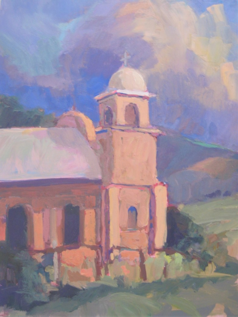 """Our Lady of Light, Oil, 16"""" x 12""""   The Our Lady of Light mission was constructed in 1889 in the railroad junction of Lamy, New Mexico.  Now under the care of an historical society, the chapel reflects the dignity and proportion of a moment when the Old West was still being settled."""