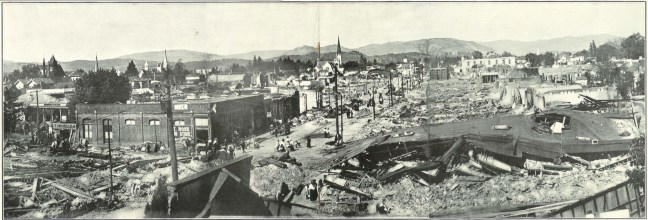 "1906 earthquake panorama, looking east from the 4th and A street intersection. The courthouse and its fallen cupola is seen upper right. The south side of 4th between A and B streets is entirely demolished due to the massive explosion of the Haven Hardware store. Photographed from the roof of the carriage shop at 324-326 Fourth st. Image source: ""Views of Santa Rosa and Vicinity Before and After the Disaster, April 18, 1906"" published for Temple Smith by Rieder, Cardinell & Co., date unknown"