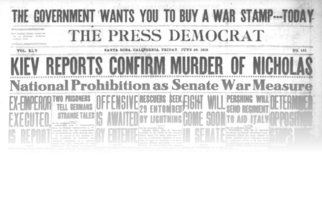 Only Russia's execution of Czar Nicholas was important enough to squeeze prohibition news out of the headlines. Press Democrat, June 28, 1918