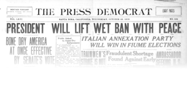 Press Democrat headlines, October 29, 1919