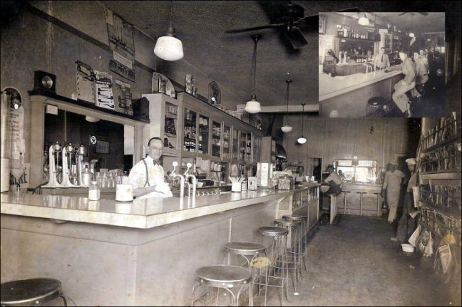"Sebastopol's cigar store had a soda counter during Prohibition, then later became ""Jack's Bar"" after repeal, as seen in the insert. The soda shop/cigar store/pool hall/cafe was owned by Jack Daveiro at 153 North Main Street, now the location of the Main Street Saloon. Images courtesy Sonoma County Library"
