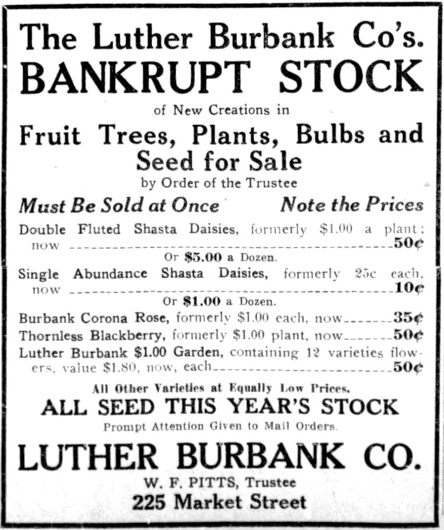 San Francisco Examiner ad, March 12, 1916
