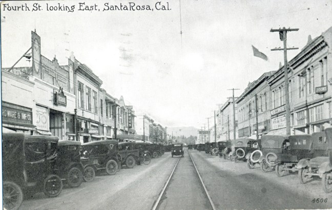 Fourth street between A and B streets c. 1922-1925. Postcard courtesy Larry Lapeere Collection