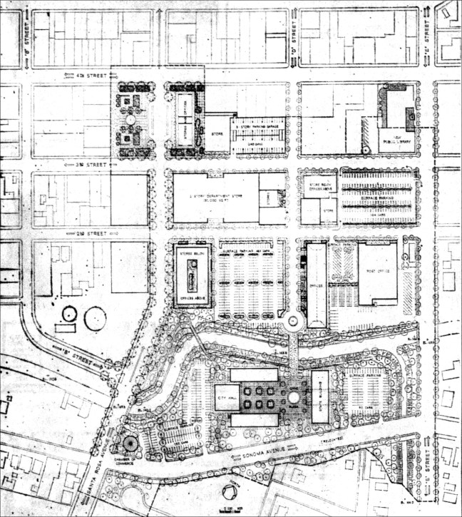 Drawing of Santa Rosa redevelopment area by Candeub, Fleissig and Associates