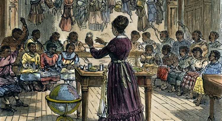 SEGREGATED SCHOOL, 1870.  A segregated school for African Americans in New York City. Engraving, 1870.